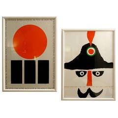 1960s pair of original vintage posters by famous artist Vittorio Fiorucci