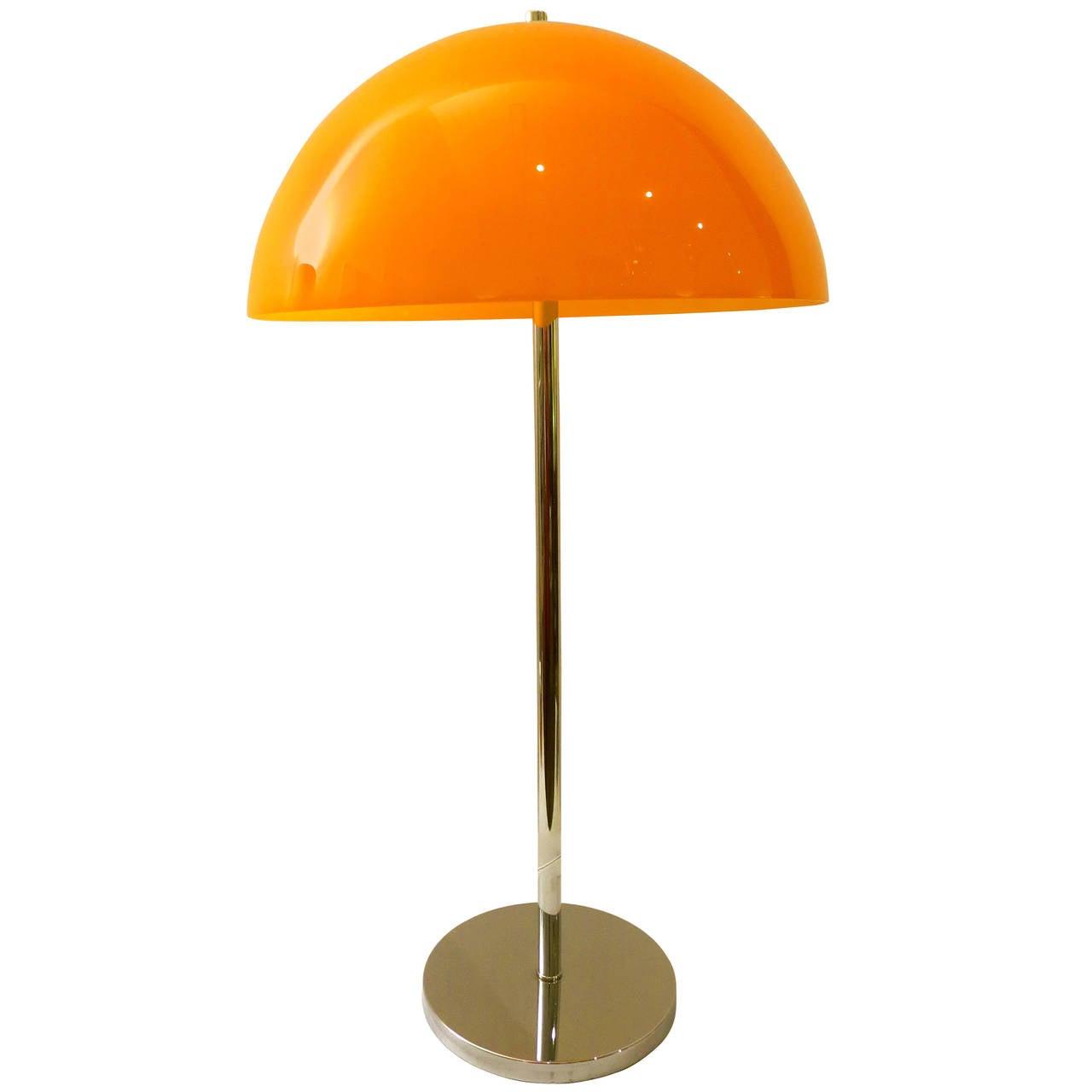 1960s Pop Desk Lamp In Orange Mushroom Glass Shade U0026 Chrome Stand For Sale Ideas