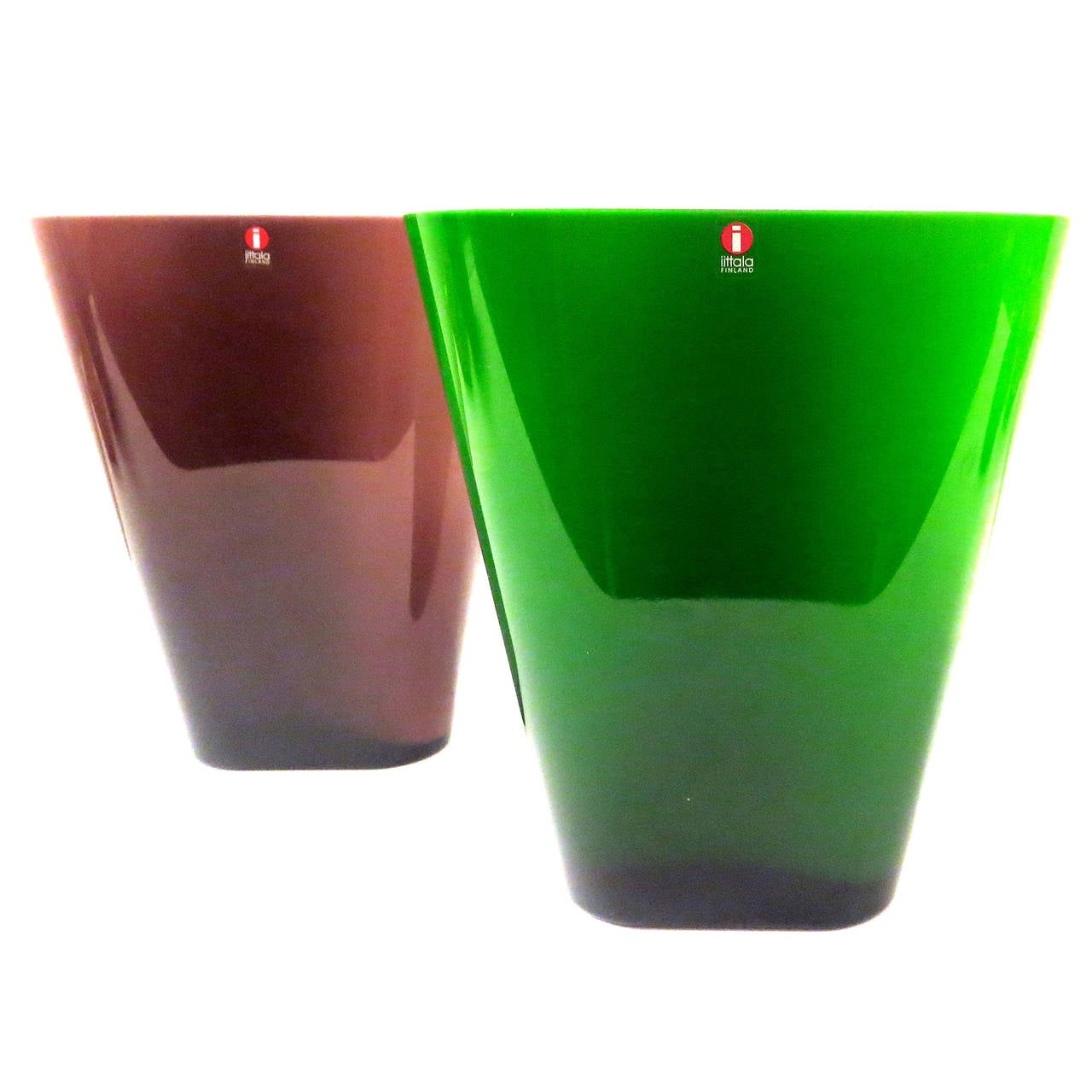 danish modern pair of glass vases made in finland by. Black Bedroom Furniture Sets. Home Design Ideas