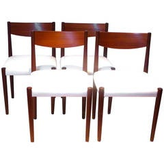 Nice set of 4 Dining chairs design by Poul Volther for Frem Rojle in teak