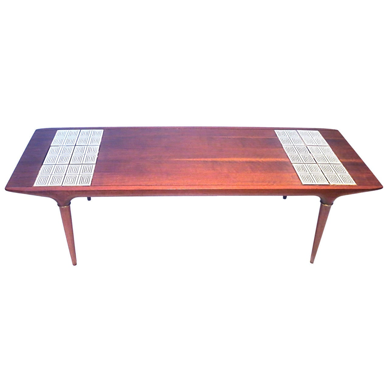 1950s american modern walnut coffee table with insert tile atomic