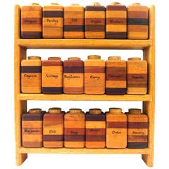 American Modern Multiwood Spice Rack with 18 Spice Container Capacity