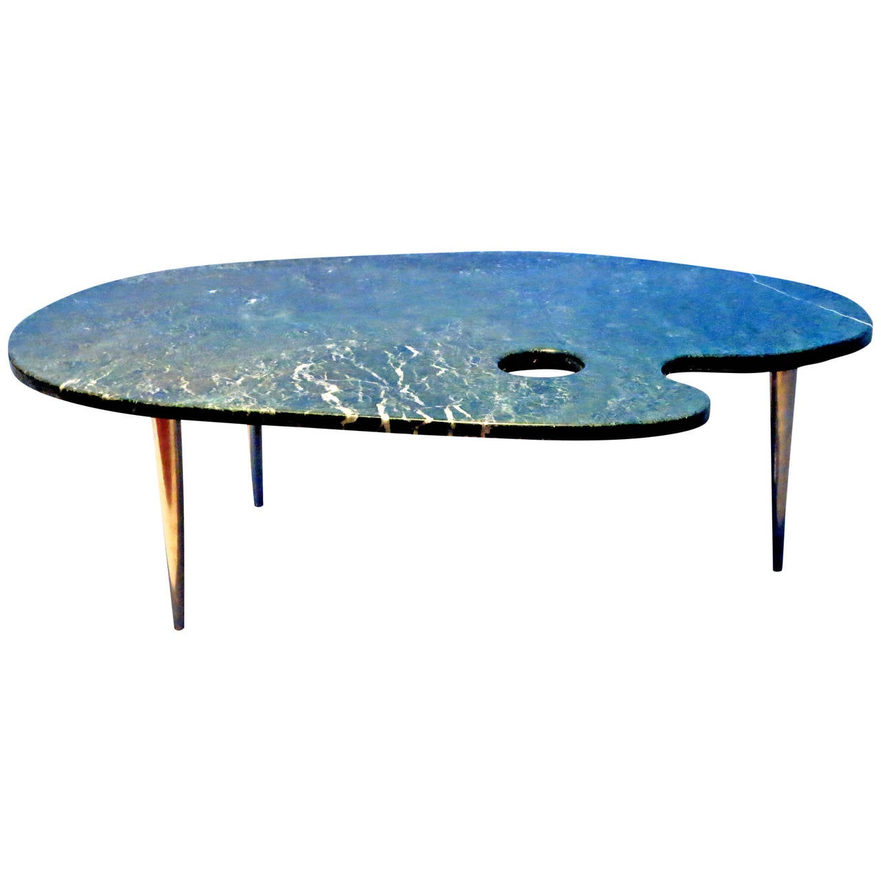 One Of A Kind 1960s Painters Palette Green Marble Coffee Table At 1stdibs