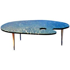 One of a Kind 1960s Painters Palette Green Marble Coffee Table