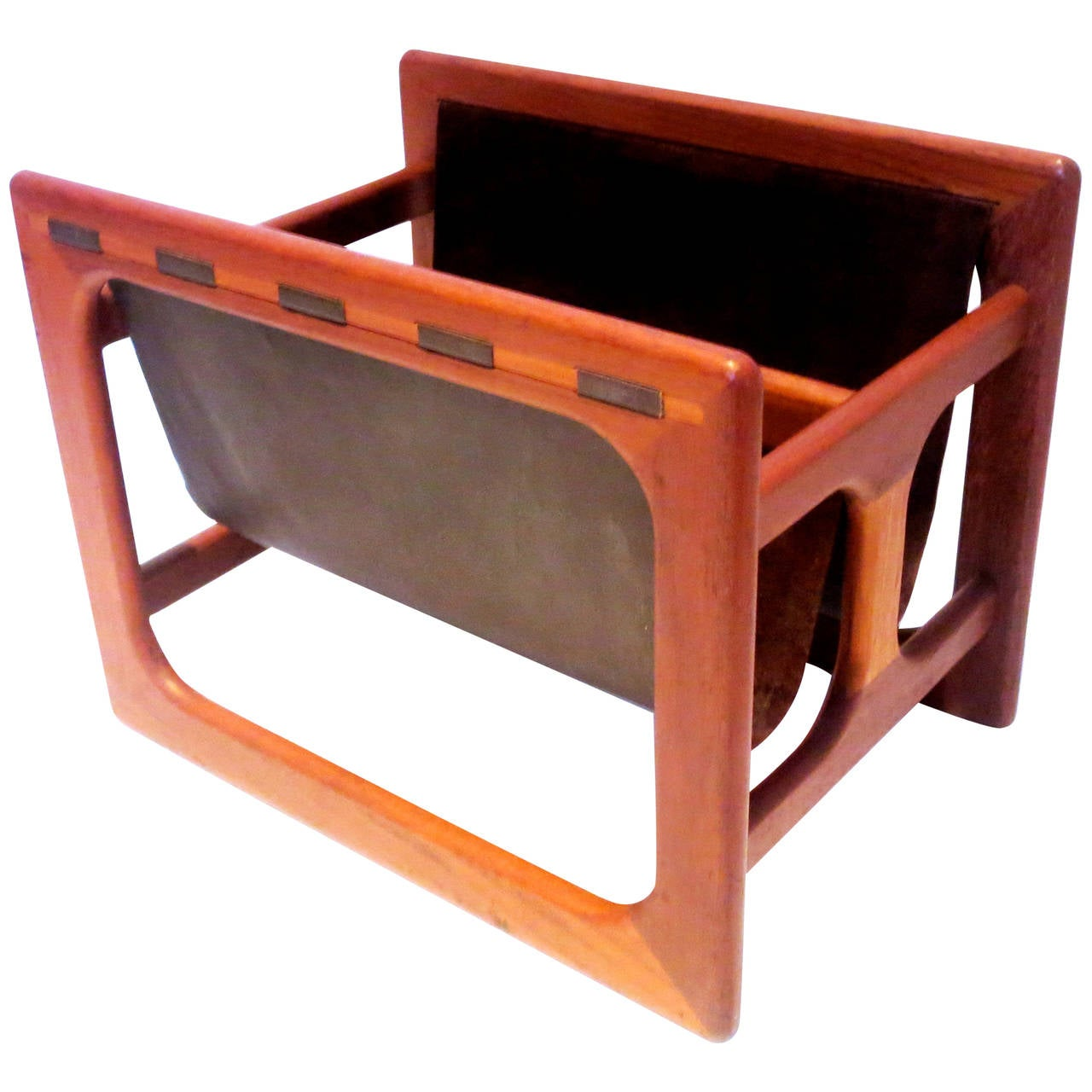 danish modern rare leather and teak sculpted double magazine rack . danish modern rare leather and teak sculpted double magazine rack