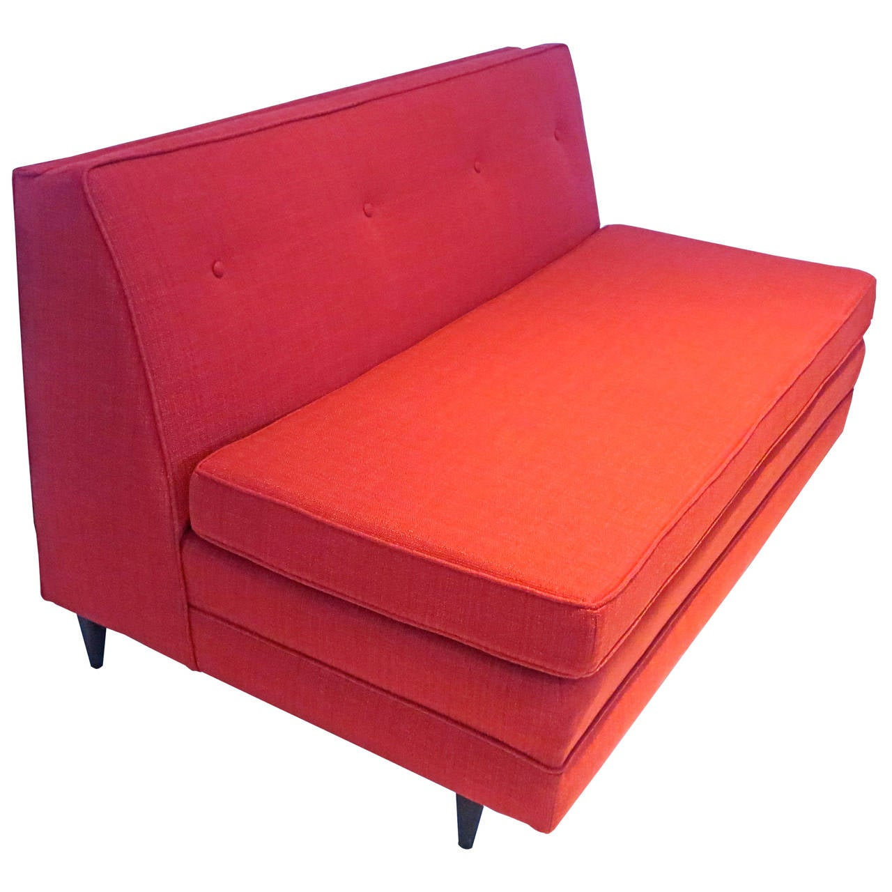 Mid century american modern 1950s slipper loveseat red sofa at 1stdibs Slipper loveseat