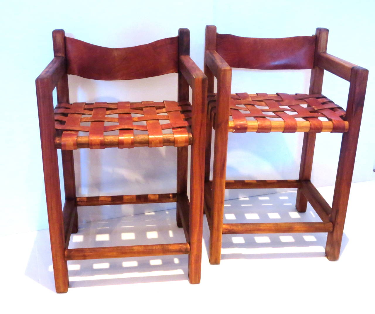 1960s Pair Of Tall Leather Strap Arm Bar Stools Mexican
