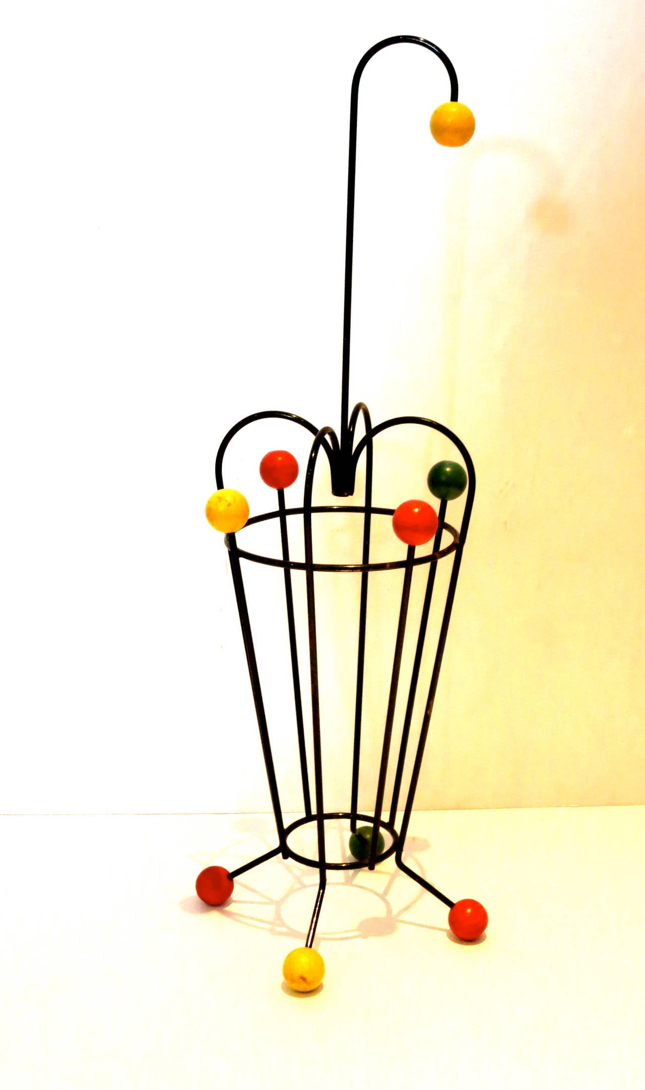 Mid-Century Modern 1950s Atomic Age French Mid-Century Umbrella Stand Iron and Wood For Sale