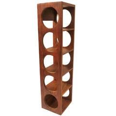 Danish Modern Five Bottle Capacity Solid Rosewood Wall-Mounted Wine Rack