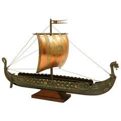 1970s Danish Modern bronze viking ship model signed by Edward Aagaard
