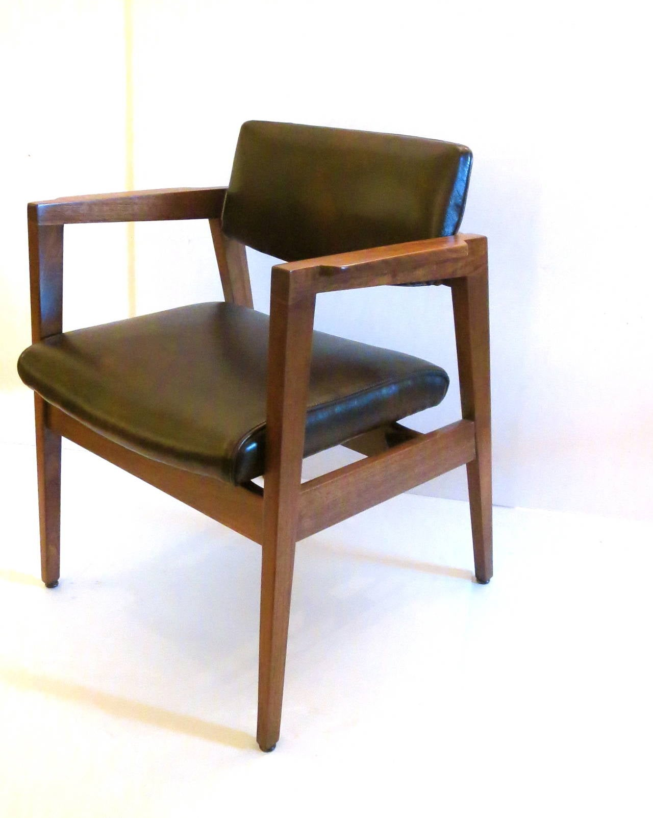 1950s American Modern Walnut And Leather Armchairs By