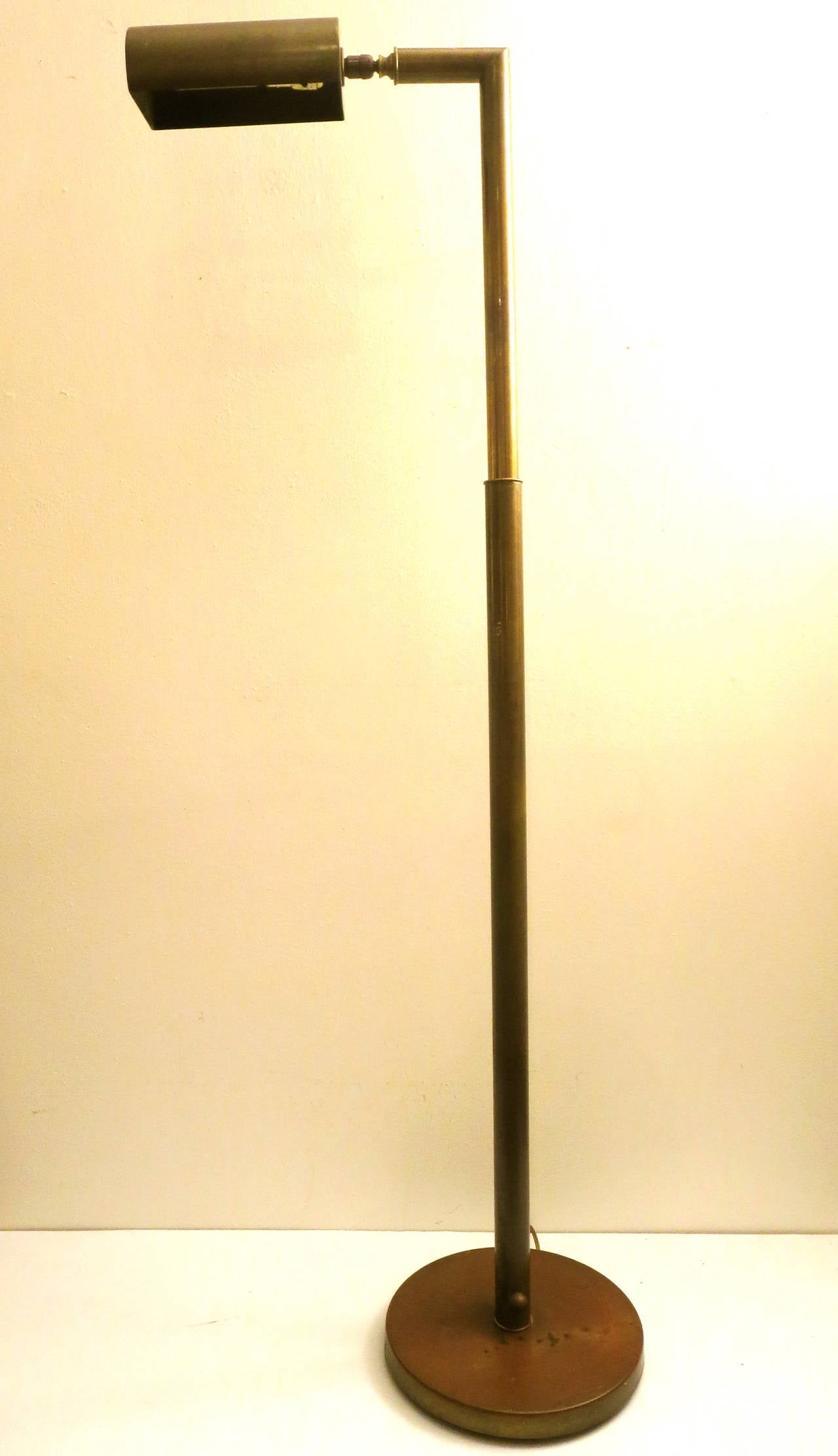 rare 1960s pharmacy floor lamp multidirectional in patinated brass at. Black Bedroom Furniture Sets. Home Design Ideas