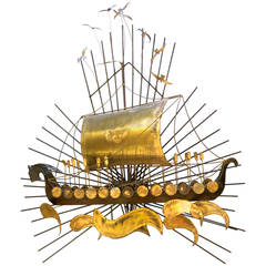 1960s Striking Large Viking Ship Wall Sculpture Metal and Brass