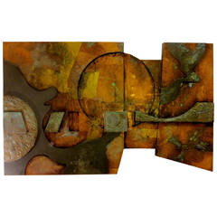 Massive Large Abstract Brutal Style Wall Hanging by De Voe Mix Media