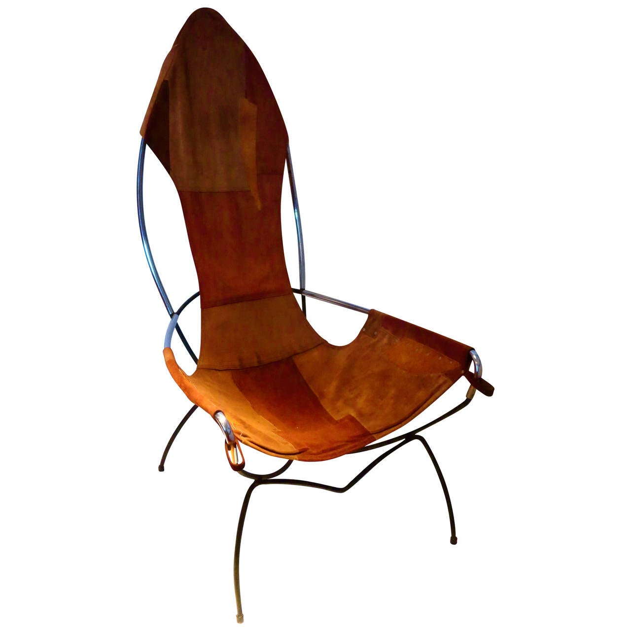 A Rare Tall Back Sling Chair In Leather Iron And Chrome