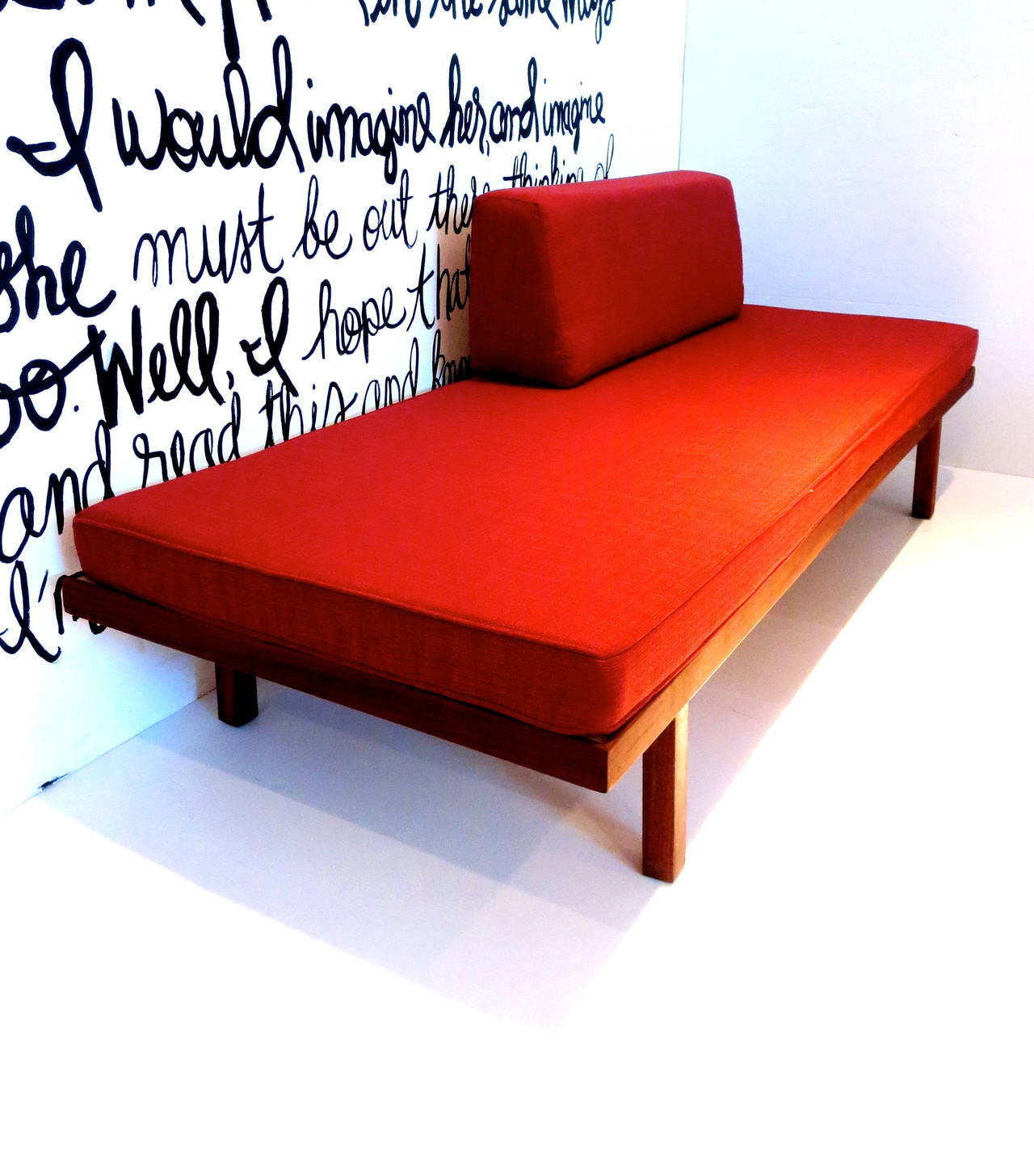1950s American Modern Mid Century Sofa Daybed In Solid