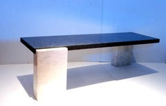 Striking Solid White Marble and Black Granite Top Coffee Table/Bench