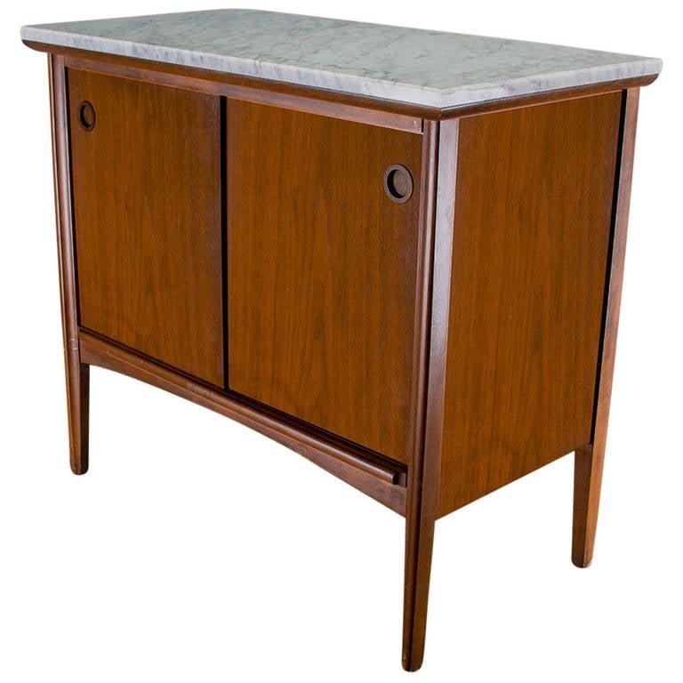 1950s American Mid Century Modern Small Round Top: 1950s American Modern Walnut And Marble Small Sliding Door