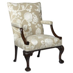 George III English Mahogany Library Armchair.