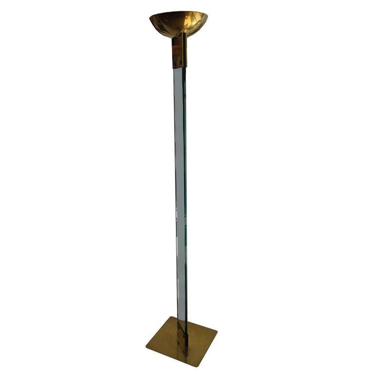 Art deco brass floor lamp at 1stdibs for Floor standing art deco lamp