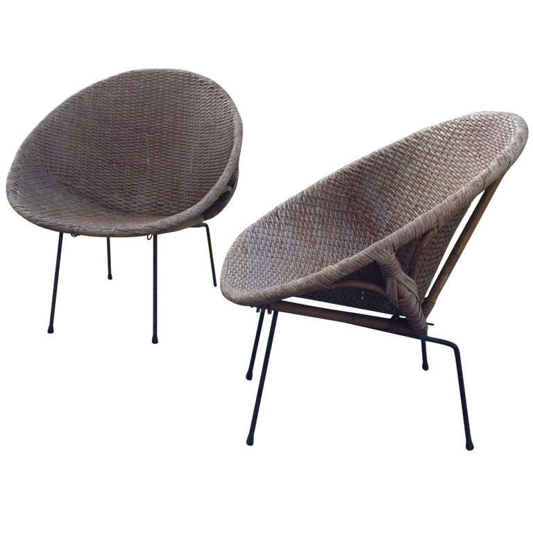 2 Rattan Armchairs In Perfect Condition With Label Anno
