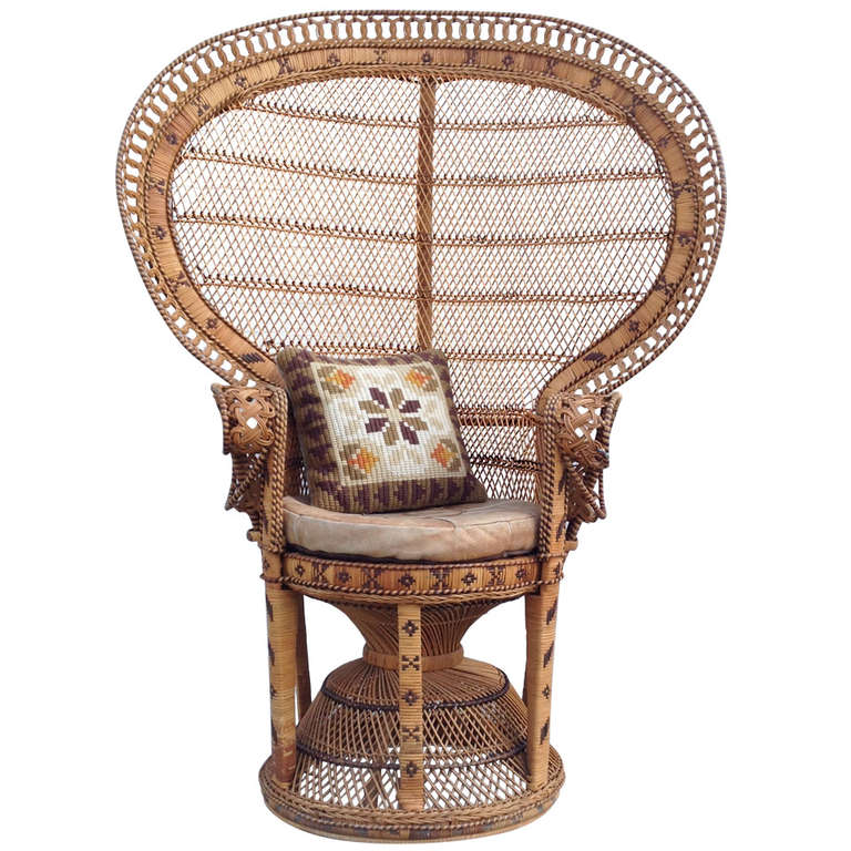 free shipping worldwide chair 70 39 s 39 39 emmanuelle 39 39 silvia k wicker peacock at 1stdibs. Black Bedroom Furniture Sets. Home Design Ideas