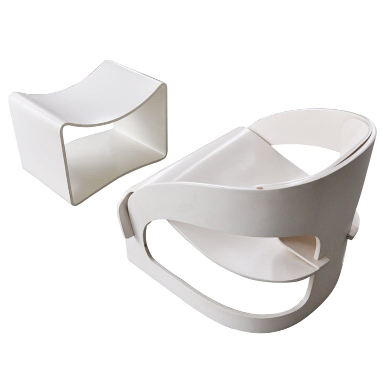 Joe Colombo's Plywood 4801 Lounge Chair for Kartell with Ottomann 1