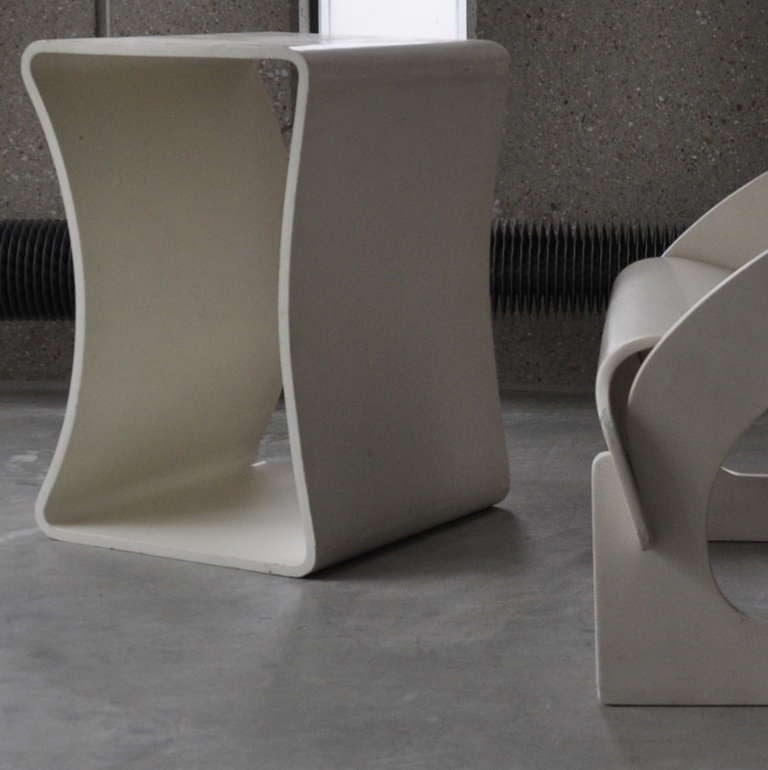 Joe Colombo's Plywood 4801 Lounge Chair for Kartell with Ottomann 2