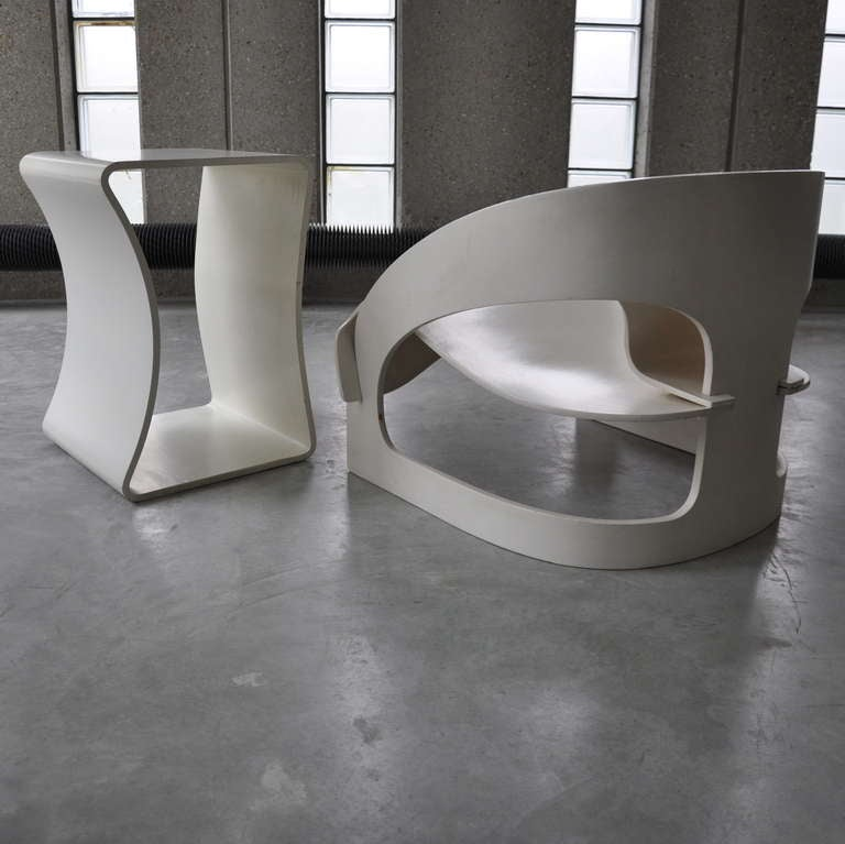Joe Colombo's Plywood 4801 Lounge Chair for Kartell with Ottomann 5