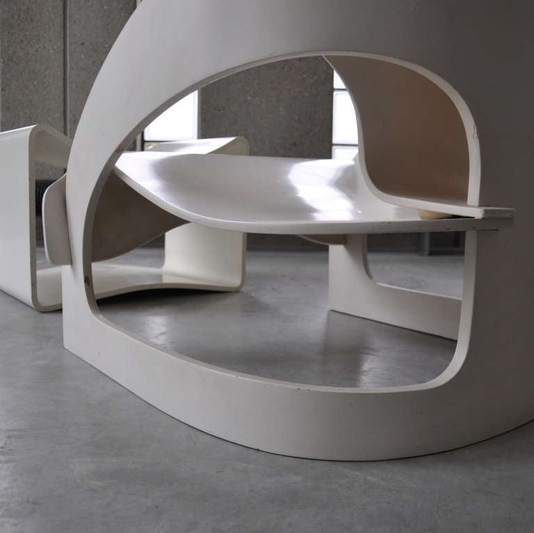 Joe Colombo's Plywood 4801 Lounge Chair for Kartell with Ottomann 7