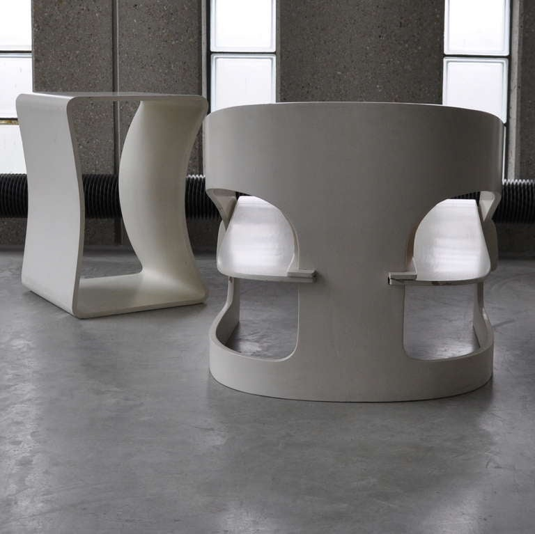 Joe Colombo's Plywood 4801 Lounge Chair for Kartell with Ottomann 8