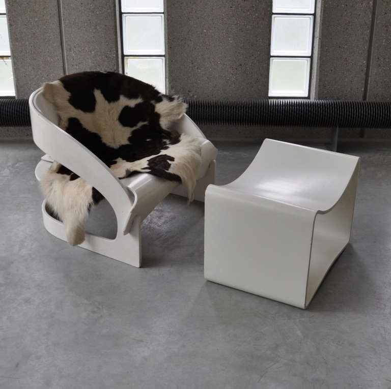 Joe Colombo's Plywood 4801 Lounge Chair for Kartell with Ottomann 9