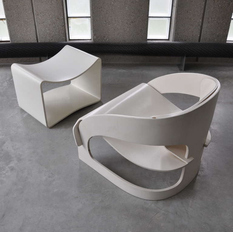 Joe Colombo's Plywood 4801 Lounge Chair for Kartell with Ottomann 10