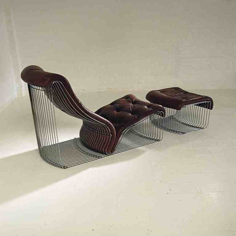 Chaise longue and stool design verner panton original leather at - Chaise originale design ...