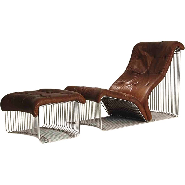 chaise longue and stool design verner panton original leather at 1stdibs