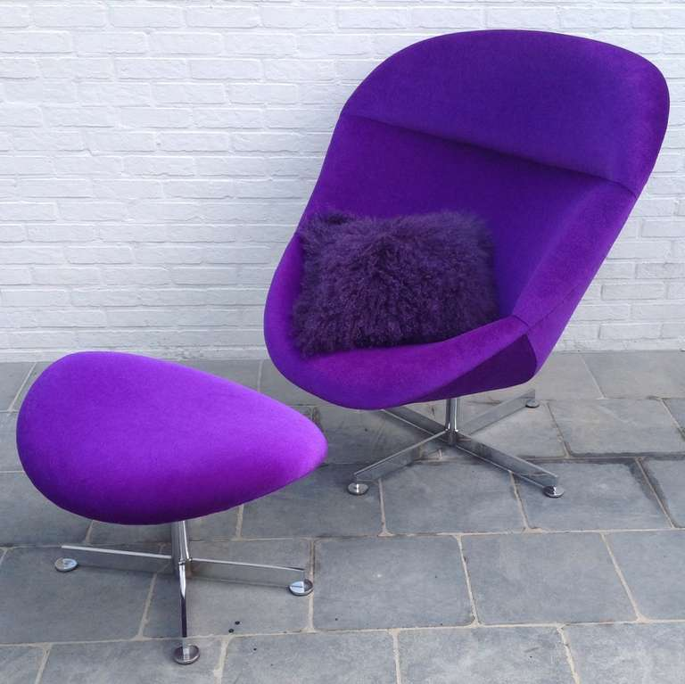Beautiful Lounge Chair With Ottoman In Rare Purple Mohair