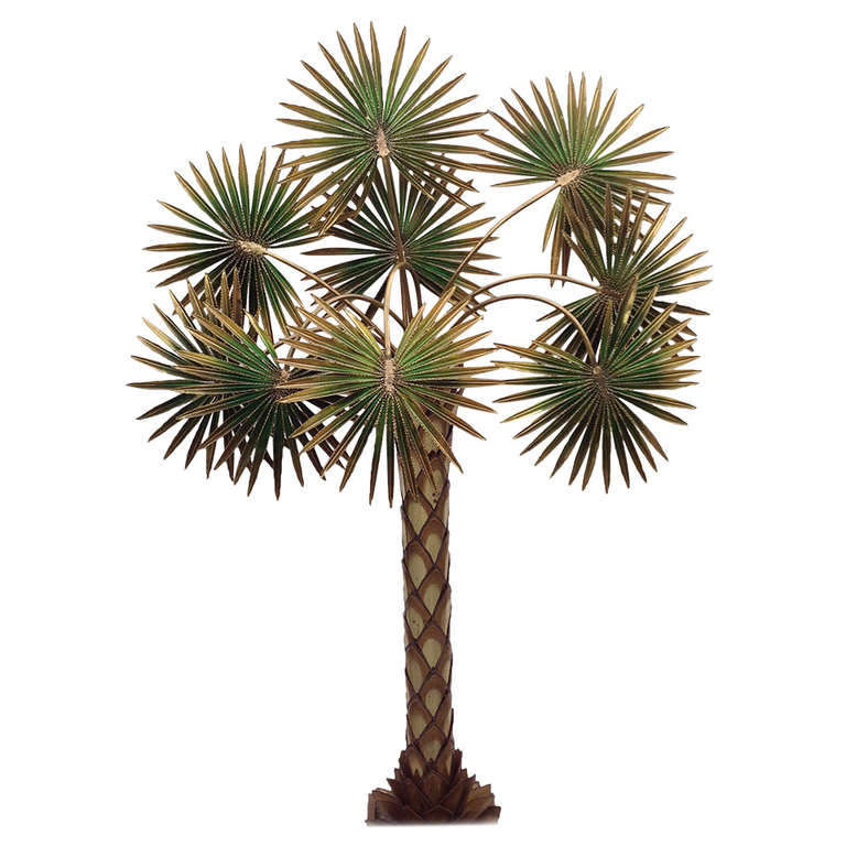Very Nice Huge Palm Tree Lamp Designed By Maison Jansen At