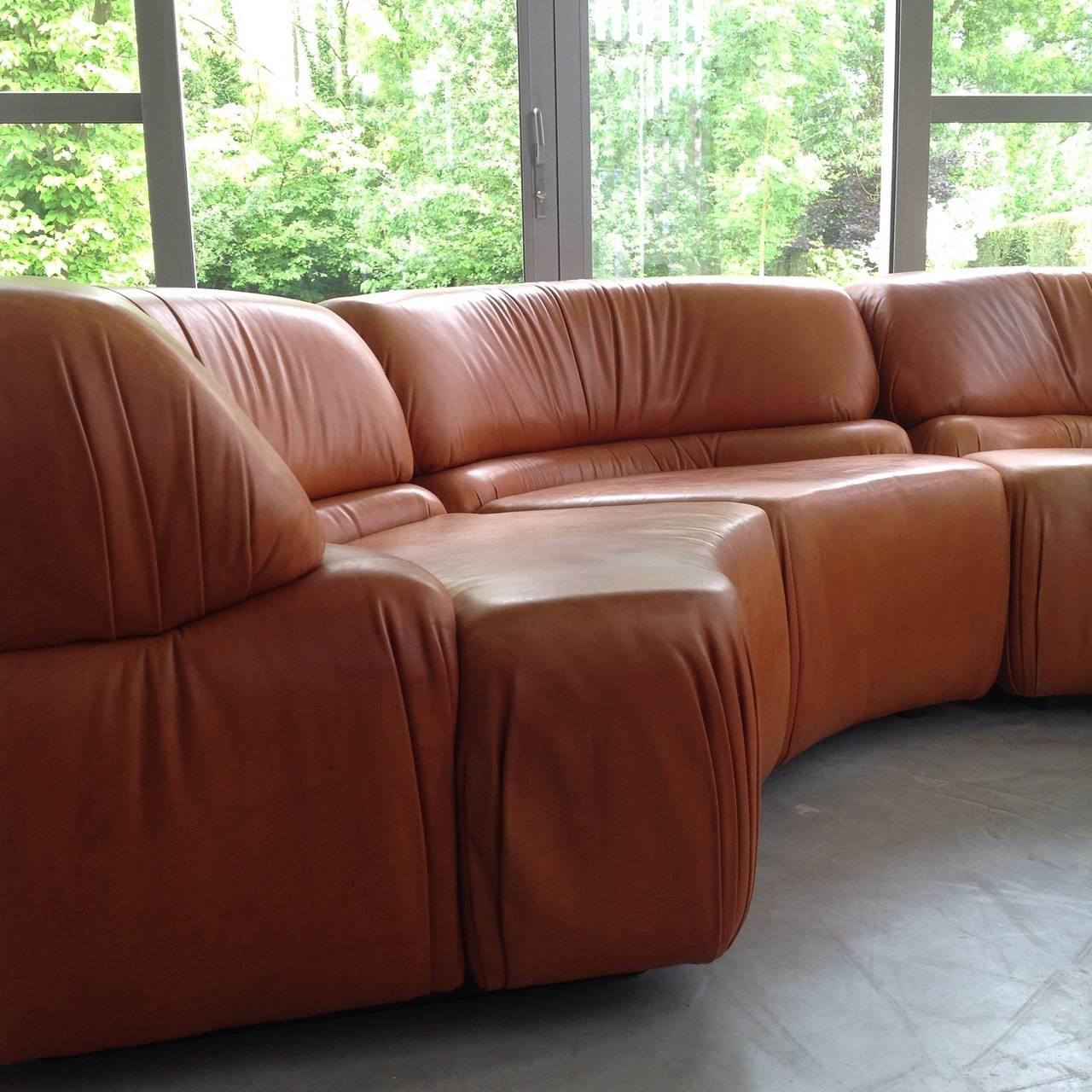 De Sede Cosmos Modular Sofa Original Beautiful Cognac Leather 1970 At 1stdibs