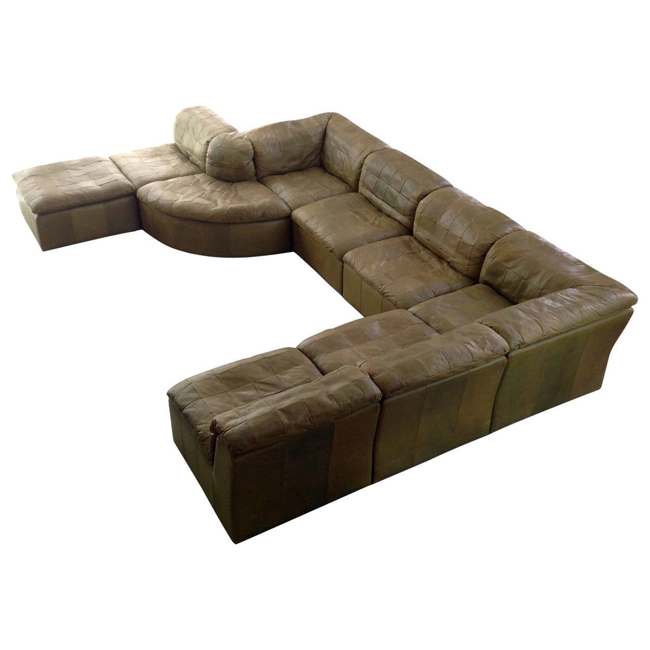 Patchwork modular sofa in original olive green leather for Red leather modular sectional sofa