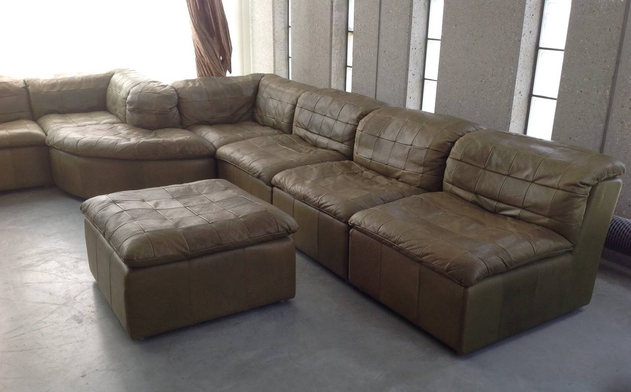 Patchwork modular sofa in original olive green leather beautiful