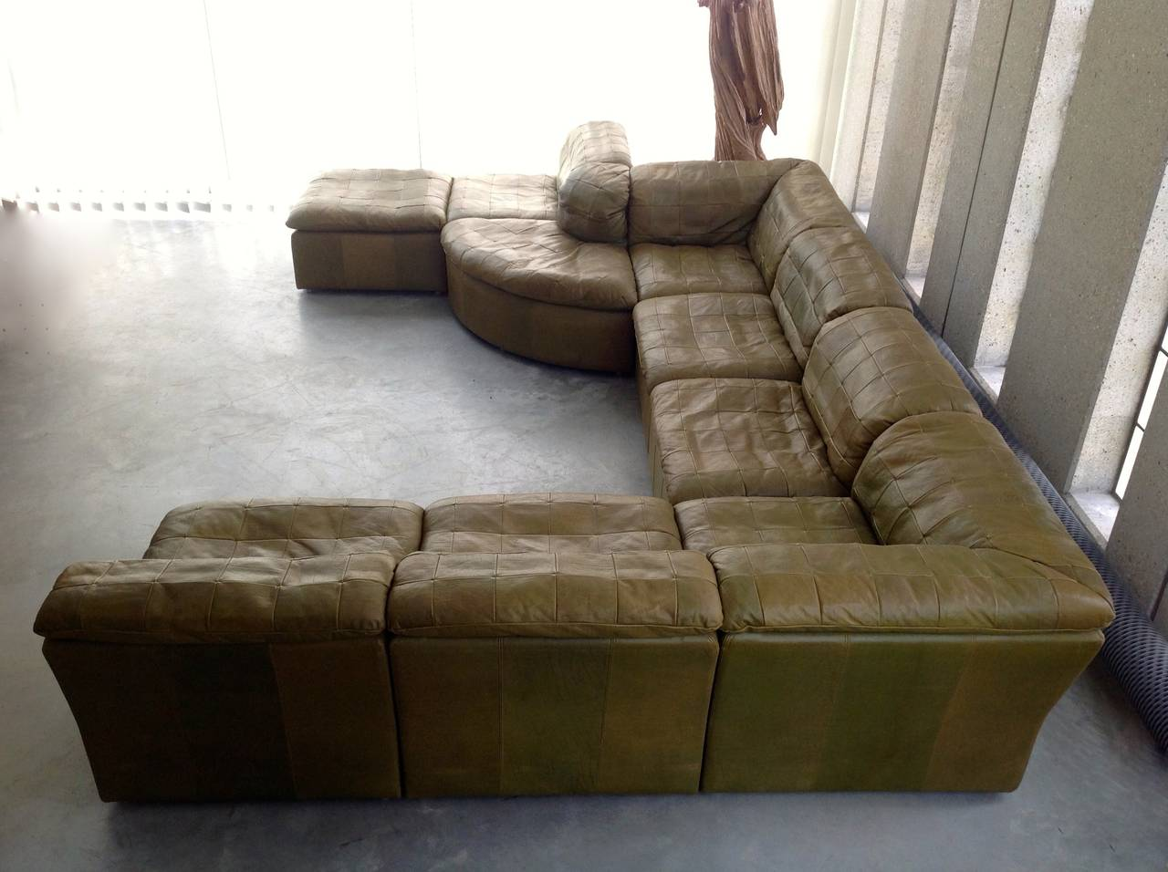 Patchwork Modular Sofa In Original Olive Green Leather