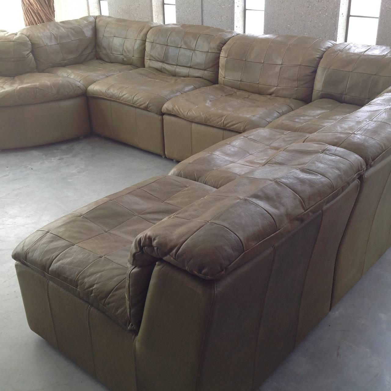 Sectional Sofa Olive Green: Patchwork Modular Sofa In Original Olive Green Leather