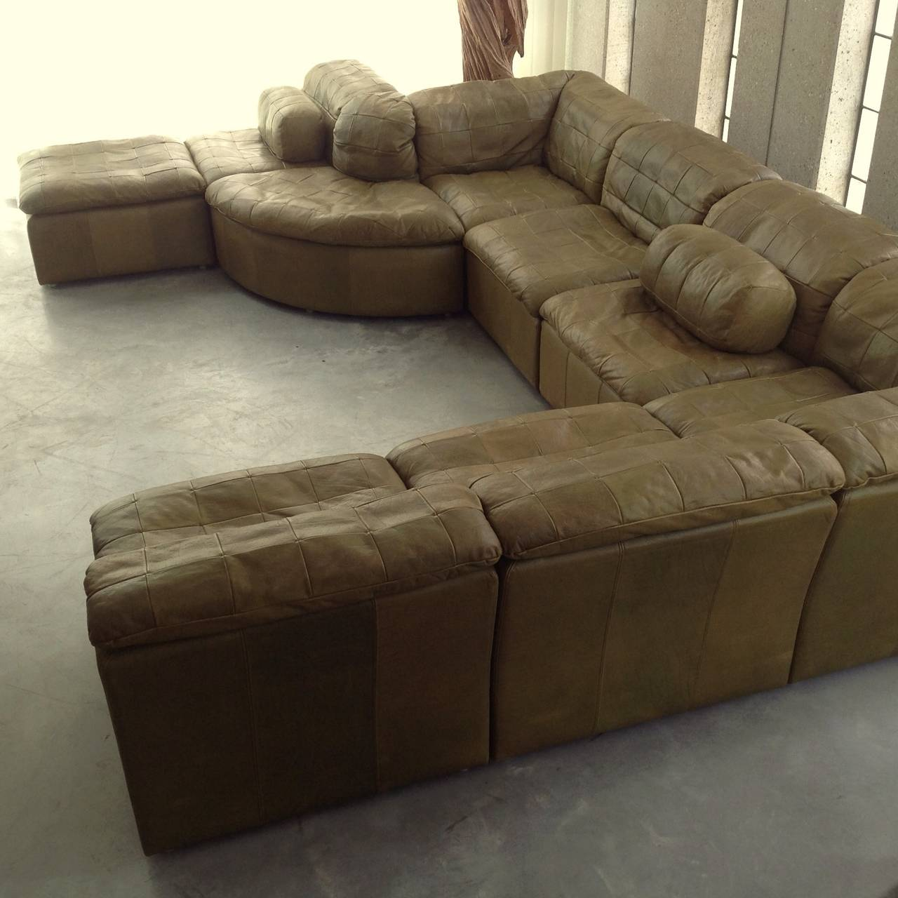 Modular Furniture Sofa: Patchwork Modular Sofa In Original Olive Green Leather