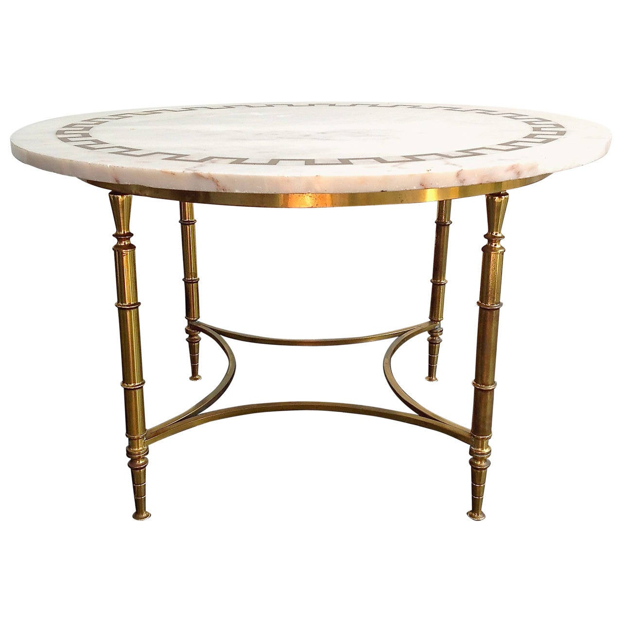 Beautiful coffee table with inlaid brass on marble top 1960s at 1stdibs Coffee tables with marble tops