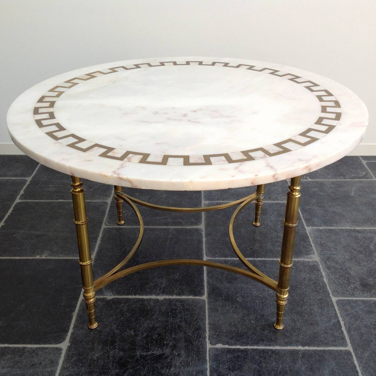 Beautiful Coffee Table With Inlaid Brass On Marble Top