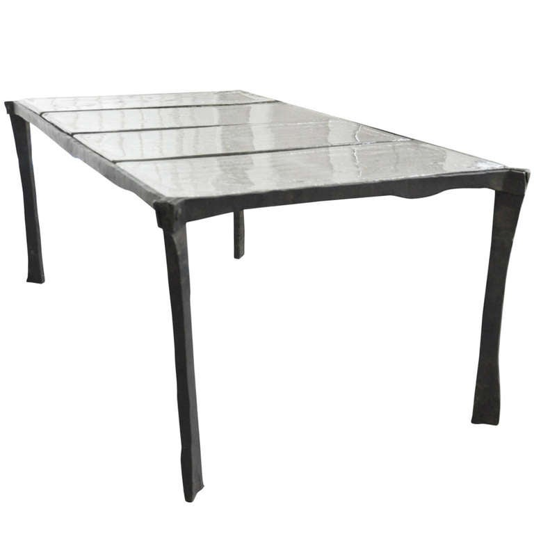 Decorative Wrought Iron Coffee Table With 4 Sheets Of Cast Glass At 1stdibs