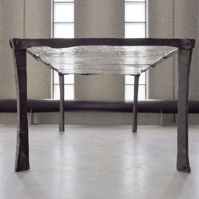 Decorative Wrought Iron Coffee Table With 4 Sheets Of Cast Glass 2