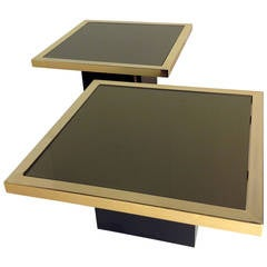 Two Side Tables Chrome and Plated with 23-Karat Gold and Smoked Mirror
