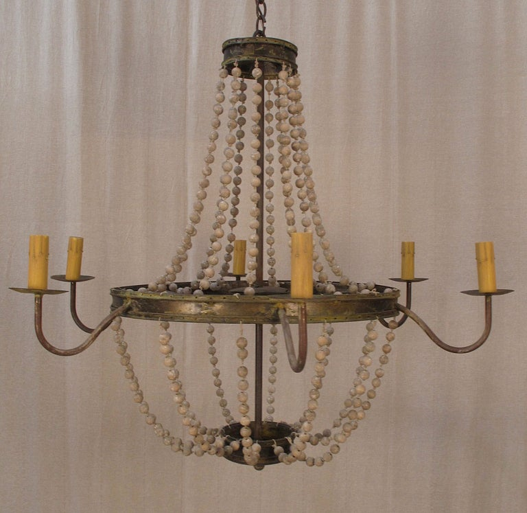 Iron Hand Painted Beaded Chandelier at 1stdibs