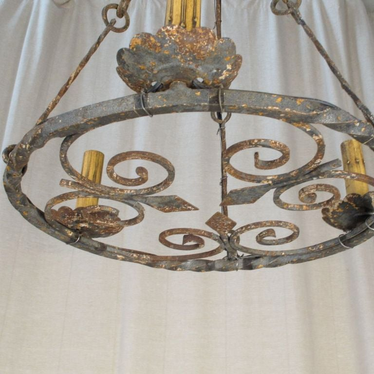 Large Double Ring Chandelier At 1stdibs: Vintage Iron Ring Chandelier At 1stdibs